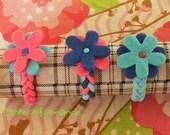 Pink Oasis Set of 3 Floral Ponytail Holders
