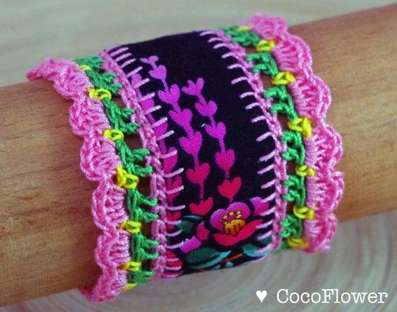 Lace Wrist Cuff Pink Bracelet Japanese fabric jewelry