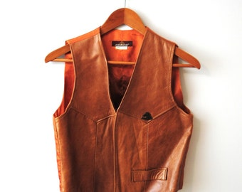 Vintage JORDACHE Light Brown Leather Vest size M