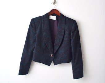 Vintage Floral cropped jacket size 12 Petite