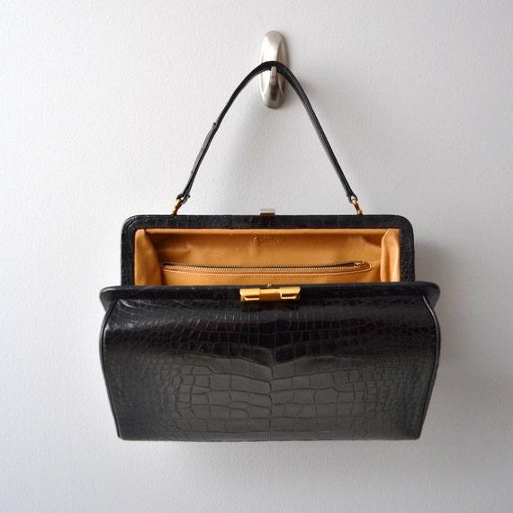 """V i n t a g e Black Leather COBLENTZ alligator """"doctor style bag"""""""