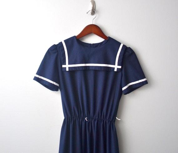 Vintage Semi sheer Nautical DRESS size aprox S/M by Toni, navy blue