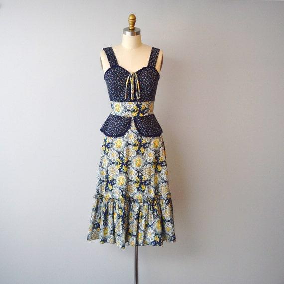 reserved...Vintage 1970s prairie dress size small sweatheart neckline