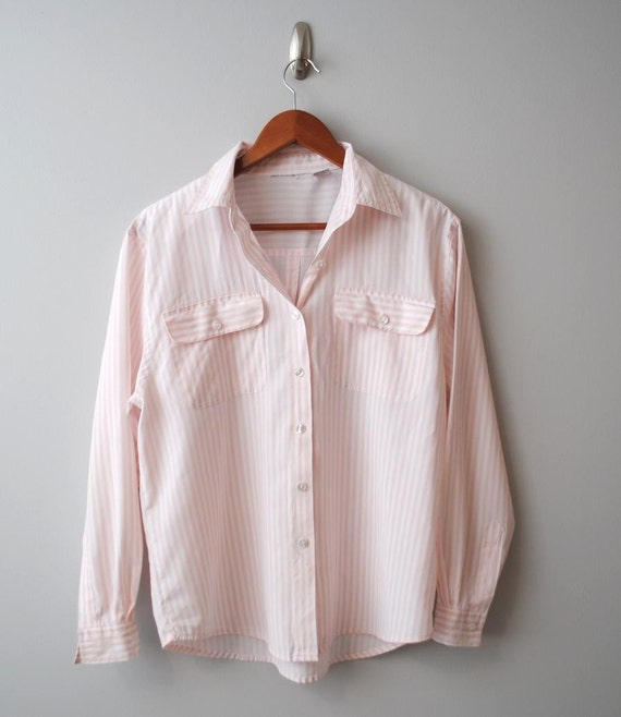 Vintage 1980s Striped Pastel Coral Shirt size L