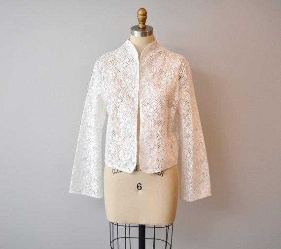 Vintage WHITE LACE sweater/jacket size L
