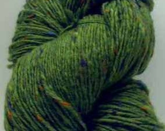 Aran Tweed Yarn (Lime Green) Irish Donegal Kilcarra Wool 7oz/200g
