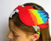 Parrot Headband, Handmade Colorful Felt Parrot on a Ribbon Wrapped Headband with Rainbow Colored Jewels