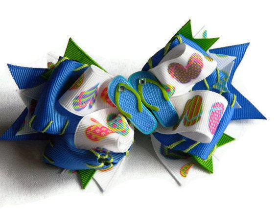 Summer Hair Bow, Flip Flop and Blue Hand Stitched Hair Bow with Ribbon Spikes and Rhinestones