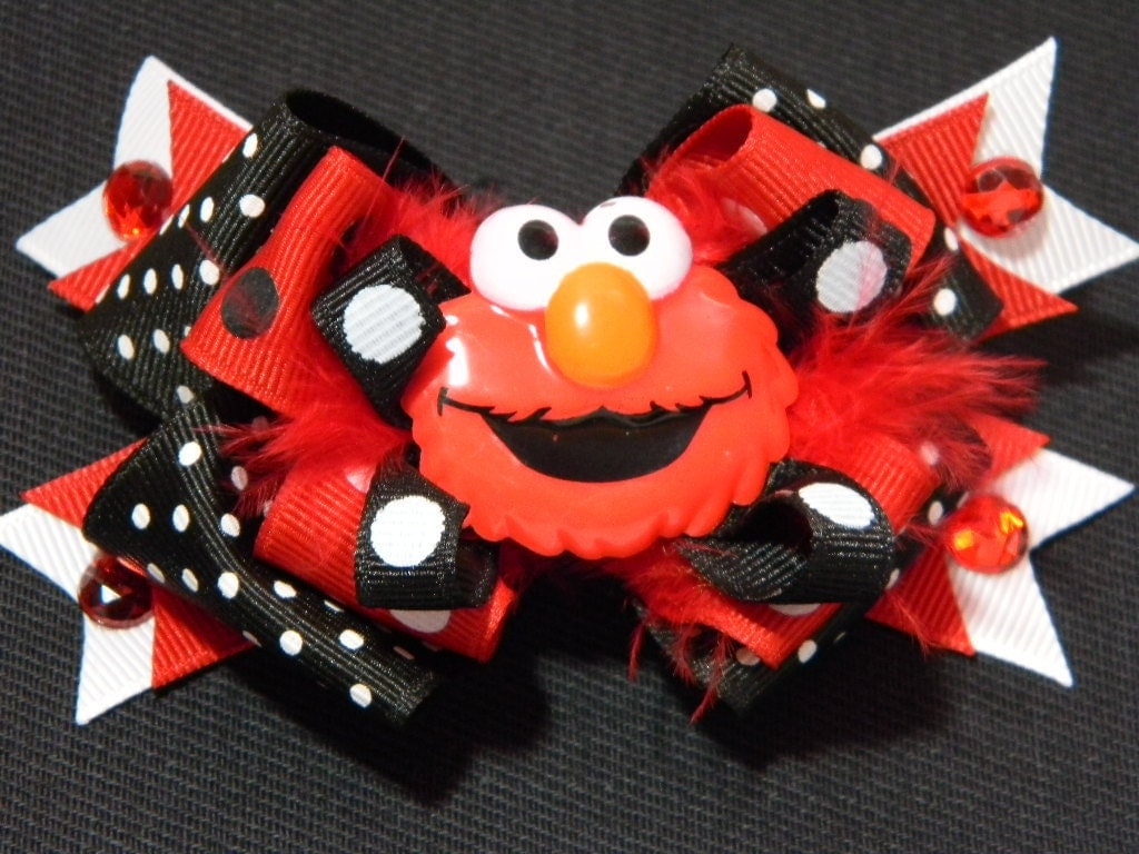 Elmo Hair Bow Red And Black With White Polka Dots Ribbon Red