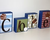 Personalized wood blocks with any name or theme - Cole - Sports