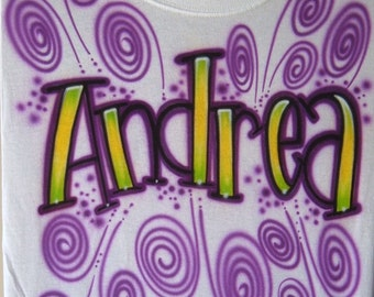 Airbrush Personalized T-shirt With Name and Color Swirls