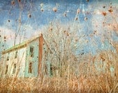 Abandoned Farmhouse Rural Rustic Wall Art Photograph Blue Gold