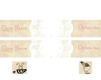 Choose A design Teacup Or Birdie - Etsy Shop Banner Set