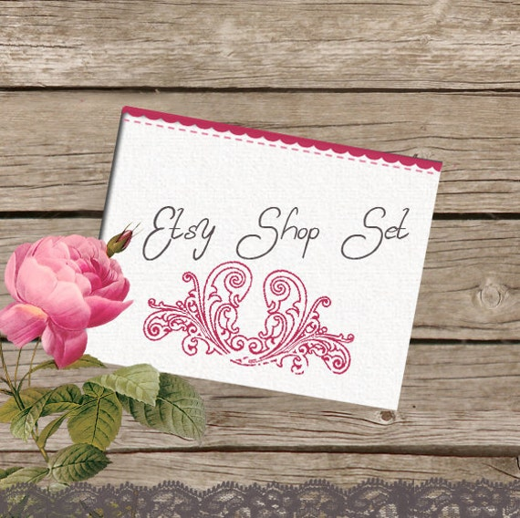 Professional Etsy Shop Set  - Garden Boutique- (Banner, avatar, placeholders)
