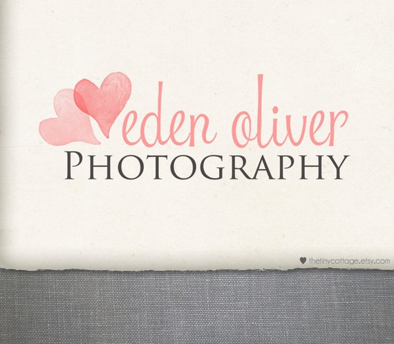 Premade Logo and Watermark Design -eden oliver - Two Overlapping Hearts (No.234)