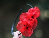 Red Flower Headband - Bridal Flower Girl Poppies Headpiece - Rustic Woodland Wedding Fascinator - Bridesmaids Gift - Custom Color