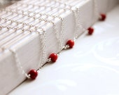Red Coral Necklaces - Set of 5 Five- Bridal Necklaces - Sterling Silver - Bridesmaids Gifts - Minimalist Necklace Gift for Women