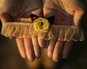 Autumn Wedding Flower Garter - Mustard Yellow Flower & Vintage Brown Ribbon - Romantic Woodland Bridal Gift