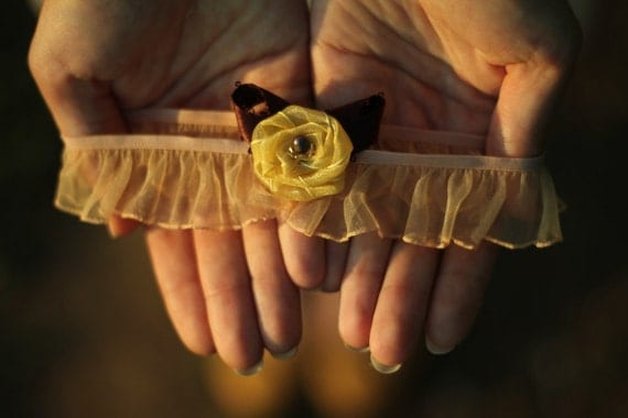 Wedding Garter - Mustard Yellow Flower & Vintage Brown Ribbon - Romantic Rustic Wedding Woodland Ruffled Accesoory -Gift for Bride