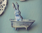 bunny in the bathtub brooch.