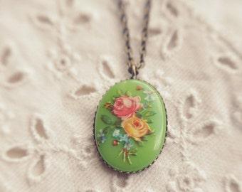 vintage floral cameo necklace.