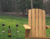 Outdoor rustic wine bottle and glass holders