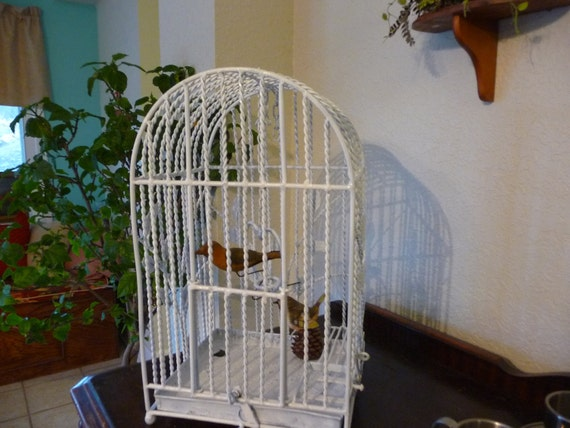 Vintage Iron Antique Bird Cage, Very Shabby with HEART shaped Bird Roost.