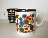SALE: hand painted coffee Mug, multicolor bubbles