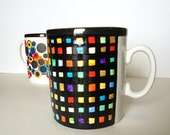 hand painted coffee mug, multicolor squares and black