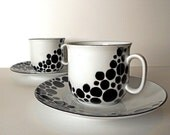 2 Cups white and black with Saucer: Black Dots - hand painted