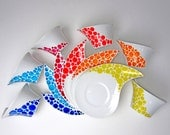 Mocha or Espresso cup with saucer - dots in multicolors