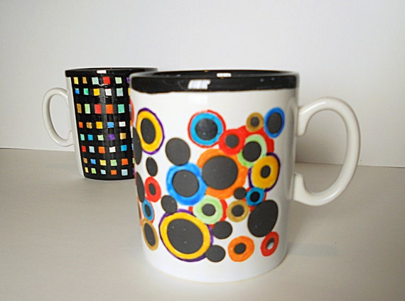 SALE: hand painted coffee Mug, multicolor bubbles