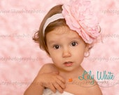 Baby Girl Headband..Baby Headband..Baby Headbands.Pink White or Ivory Flower Headband...Newborn Headband.Easter Headband.hair Bow.Couture