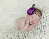 Purple Flower Headband..Baby Headband..Baby Girl Headband..Girl Headband..Feather Headband.Newborn Baby Headband