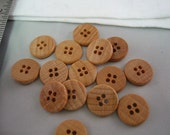 "Wood button lot of 20 natural 4 hole. 5/8"" (15mm) diameter (Small)"