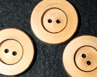 "Wood Button 1 1/4""   Extra large lot of 4"