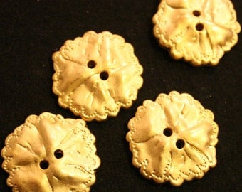 Gold Button 2 hole Satin textured  4 sizes  LOT OF 6