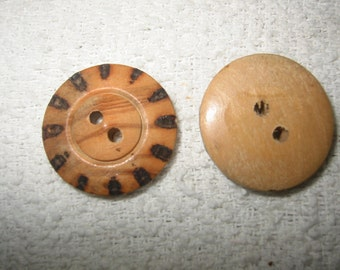 "Large Wood Button, 2 hole Natural, 1 1/8"" diameter Lot of 6 pcs,"