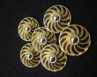 """Gold look Pinwheel Button.Lot of 4 .Diameter is approximately 1""""(25mm)"""