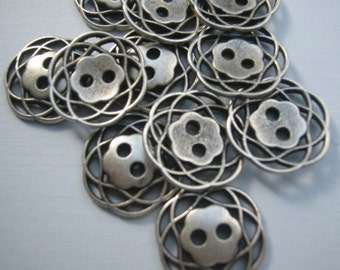 Ant Silver Button Lot of 6 (pick size) - Metal filagree design available in 3 sizes.