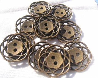 Ant Copper  Button Lot of 6 (pick size) - Metal filagree design available in 3 sizes.
