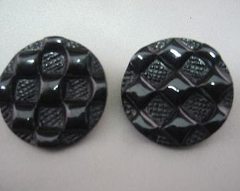 "Black Button, Large black shank button 1 1/8"" ( 30mm) in diameter - lot of 6 - Patchwork design"
