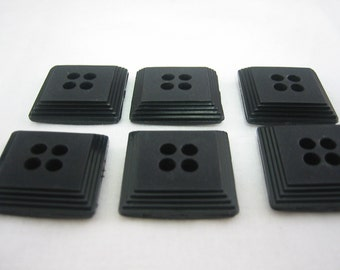 Medium square black button - Lot of 6 - 4 hole - Fancy design