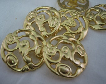 Extra Large Satin Gold Casting (Button) Lot of 4