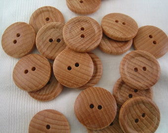 "Wood button lot of 15 natural 2 hole. 13/16"" (20mm) diameter (Medium)"