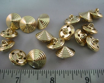 "Gold button, Small  cone / pyramid, Gold Plated  5/8"" Metal Button Lot of 6 (15mm)"