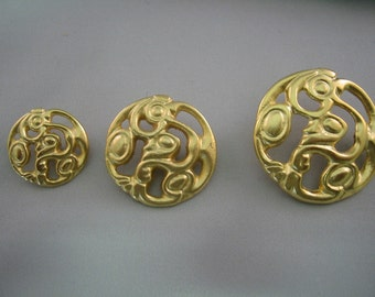 Gold  Buttons Satin  Lot of 4