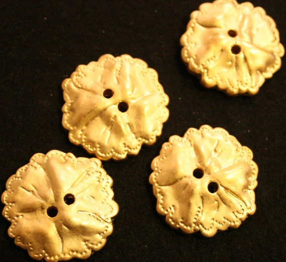 Large Satin Gold 2 hole Button in Shape of a Leaf LOT OF 6