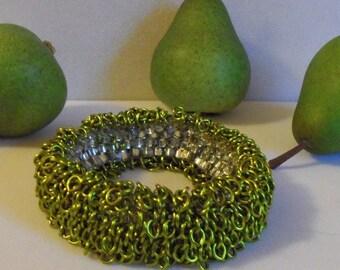 Pear Silvered Enamel Chain Fringe Infinity Bracelet