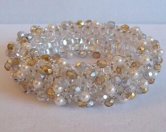 Swarovski Pearl Silver Lined Crystal Infinity Bracelet